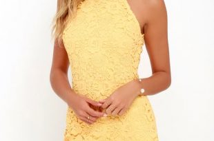 Lace Mini Dress - Yellow Dress - Halter Dresses - Sheath Dre