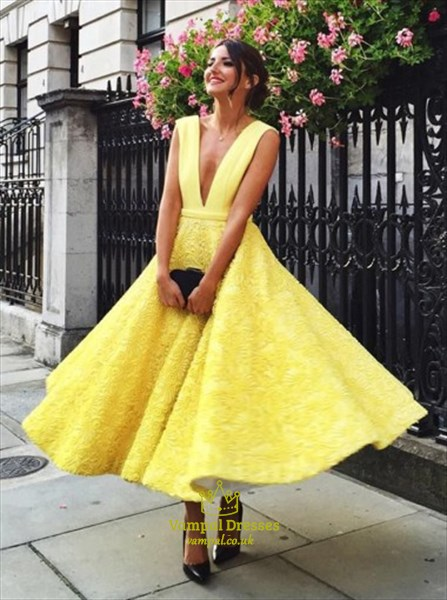 Yellow Lace Ankle Length Sleeveless Deep V-Neck A-Line Evening .