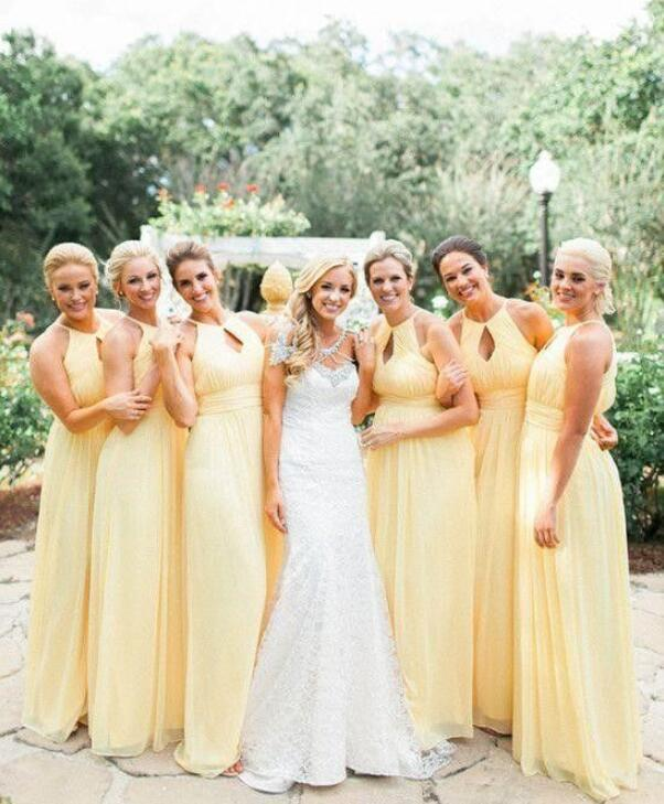Light Yellow Sleeveless Empire Bridesmaid Dresses Best Prom .