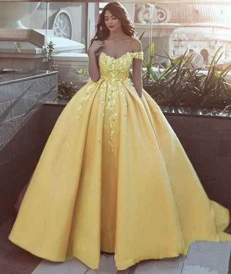 Fashion Yellow 3D Floral Flowers Quinceanera Dresses 2020 Ball .
