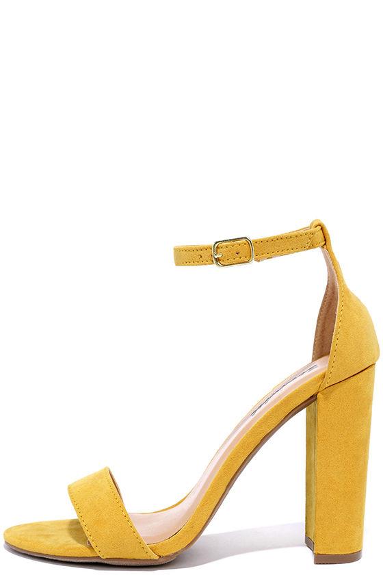 Pretty Ankle Strap Heels - Yellow Heels - Stiletto Hee